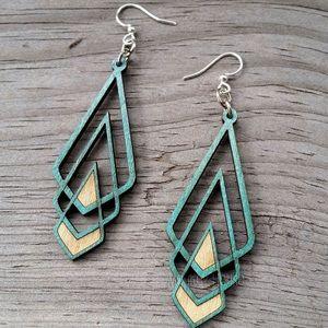 Brand new, Green Tree, wooden earrings!